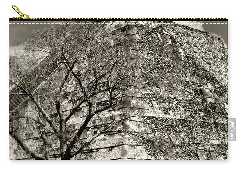 Chichen Itza Carry-all Pouch featuring the photograph Chichen Itza Blk And White by Chris Brannen