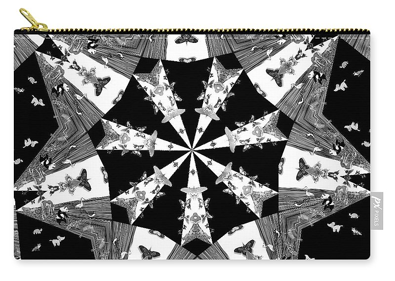 Butterflies Carry-all Pouch featuring the photograph Children Animals Kaleidoscope Black And White by Donna Brown