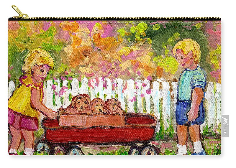 Paintings For Children Carry-all Pouch featuring the painting Chilrens Art-boy And Girl With Wagon And Puppies by Carole Spandau