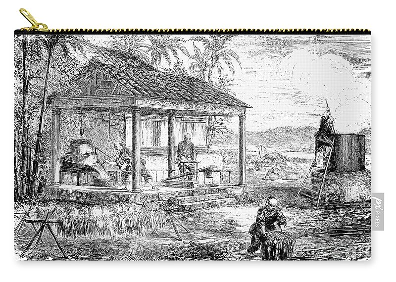 1855 Carry-all Pouch featuring the photograph China: Paper Manufacture by Granger
