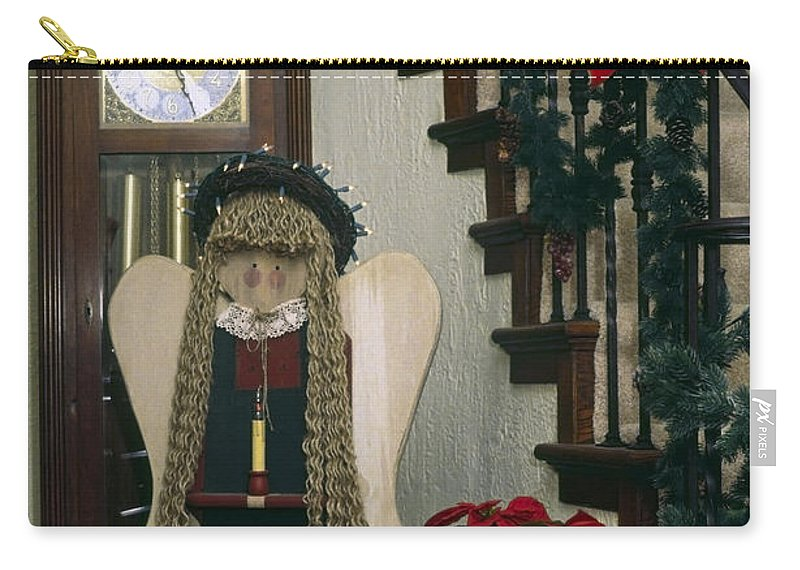 Stairway Carry-all Pouch featuring the photograph Christmas Angel by Sally Weigand