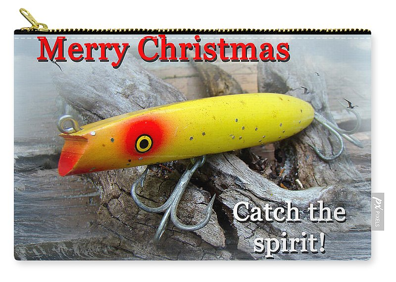 Christmas Carry-all Pouch featuring the photograph Christmas Greeting Card - Gibbs Darter Vintage Fishing Lure by Mother Nature