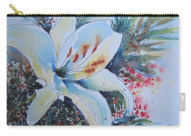 Lily Carry-all Pouch featuring the painting Christmas Lily by Corynne Hilbert