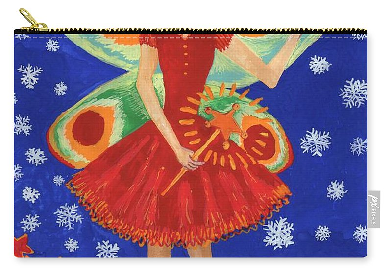 Fairy Carry-all Pouch featuring the painting Christmas Pudding Fairy by Sushila Burgess