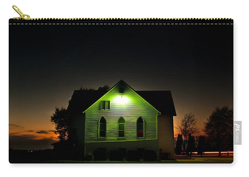 Landscape Carry-all Pouch featuring the photograph Church At Sunset by Cale Best