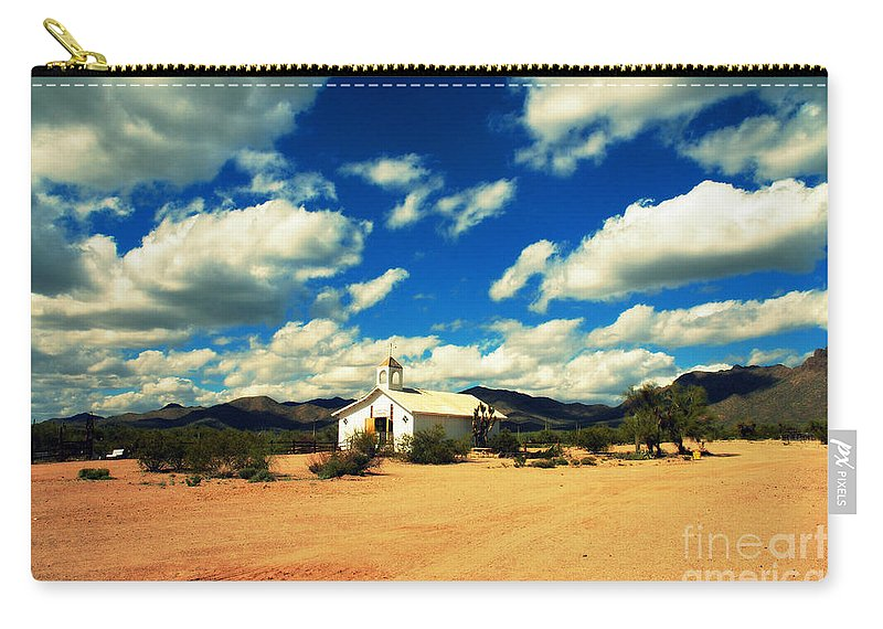 Old Tuscon Carry-all Pouch featuring the photograph Church In Old Tuscon Arizona by Susanne Van Hulst