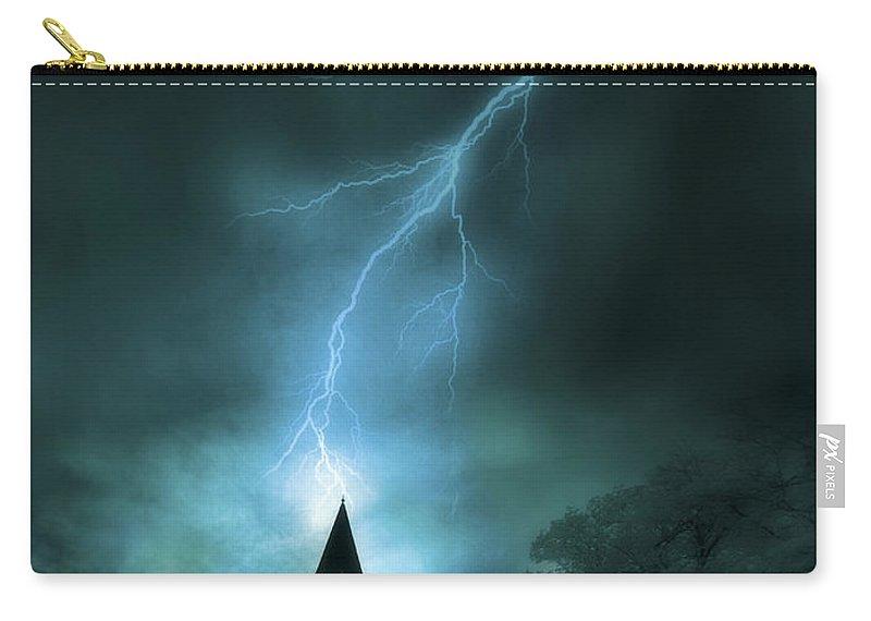 Church Carry-all Pouch featuring the photograph Church Struck By Lightning by Jill Battaglia
