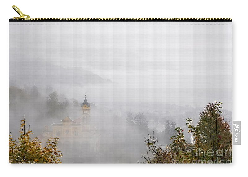 Church Carry-all Pouch featuring the photograph Church With Fog by Mats Silvan