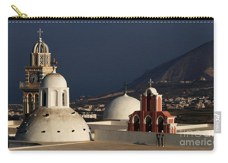 Greece Carry-all Pouch featuring the photograph Churches In Fira Greece by Bob Christopher