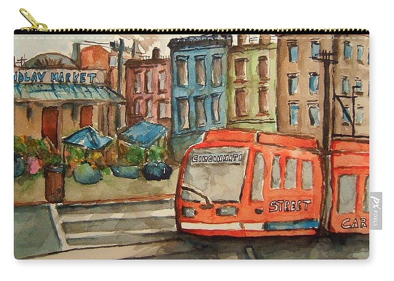Train Carry-all Pouch featuring the painting Cincinnati Streetcar by Elaine Duras