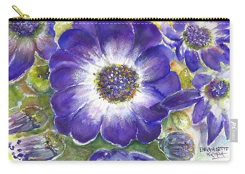 Cineraria Of South Africa Carry-all Pouch featuring the painting Cineraria Of South Africa by Bernadette Krupa