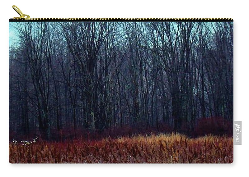 Red Carry-all Pouch featuring the photograph Cinnamon Fields by Art Dingo