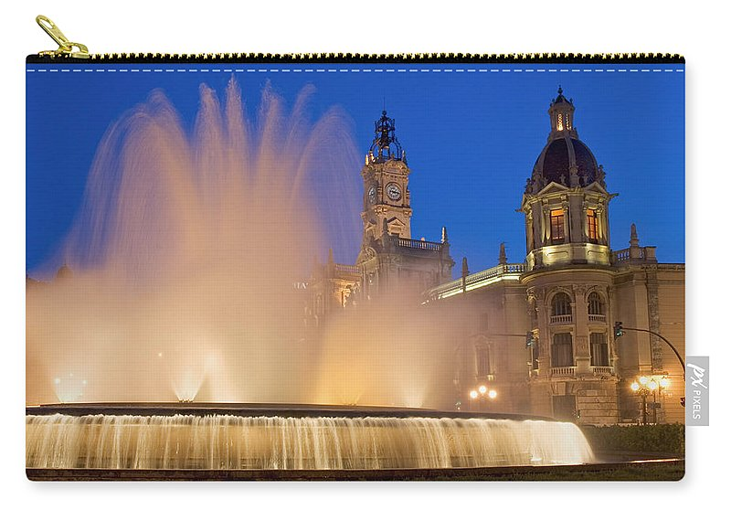 Water Carry-all Pouch featuring the photograph City Hall And Fountain At Dusk by Axiom Photographic