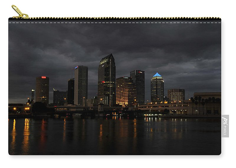 Tampa Bay Florida Carry-all Pouch featuring the photograph City In The Storm by David Lee Thompson