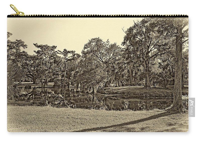 New Orleans Carry-all Pouch featuring the photograph City Park Lagoon Sepia by Steve Harrington