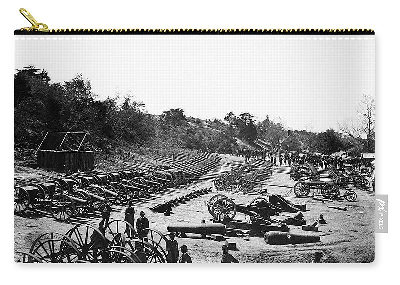 1864 Carry-all Pouch featuring the photograph Civil War: Artillery by Granger
