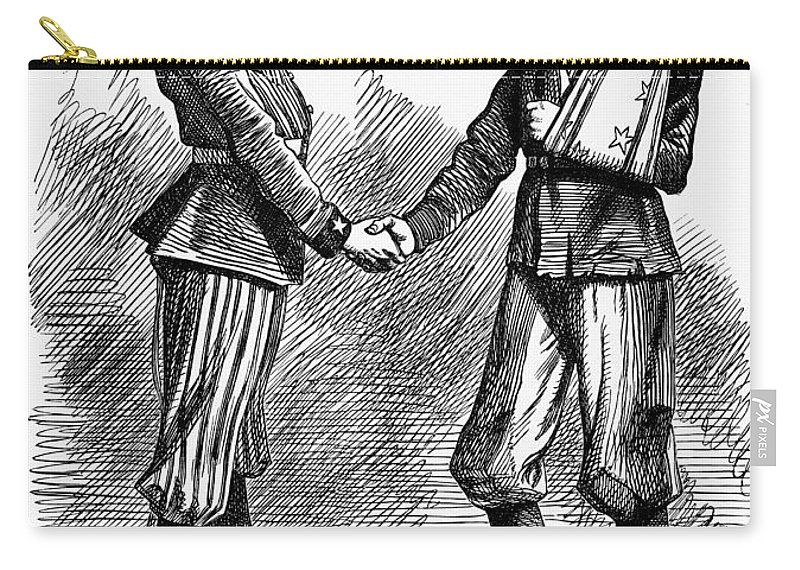 1865 Carry-all Pouch featuring the photograph Civil War: Cartoon, 1865 by Granger