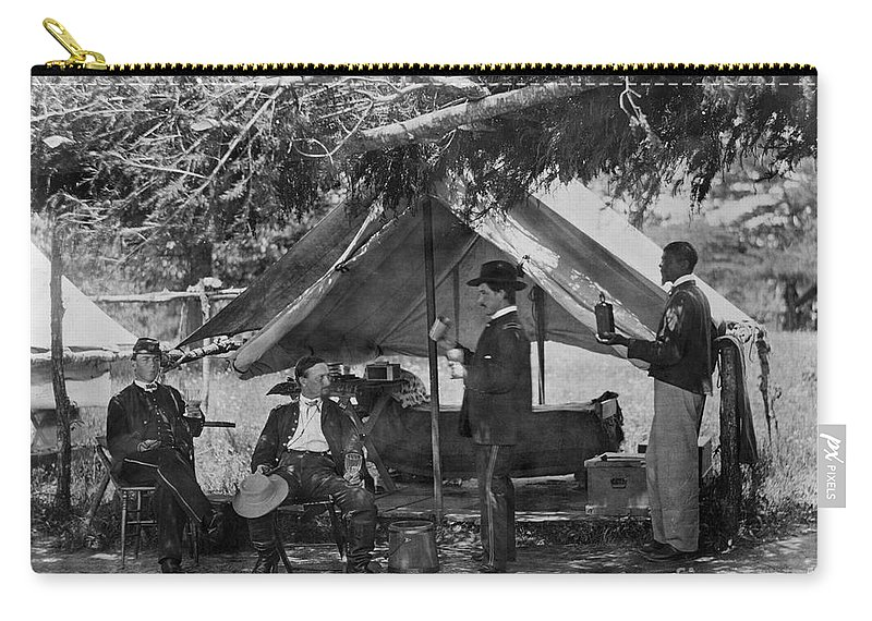 1865 Carry-all Pouch featuring the photograph Civil War: Union Camp by Granger