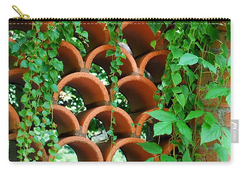 Clay Carry-all Pouch featuring the photograph Clay Pattern Wall With Vines by Nancy Mueller