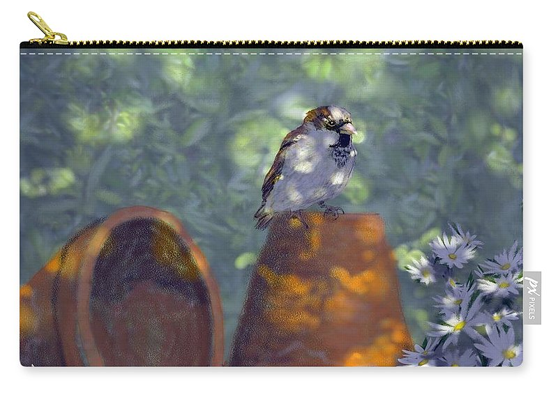 Garden Carry-all Pouch featuring the digital art Clay Pot Sparrow by Barb Kirpluk