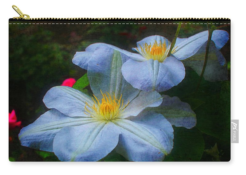 Flower Carry-all Pouch featuring the photograph Clematis Altered by Smilin Eyes Treasures