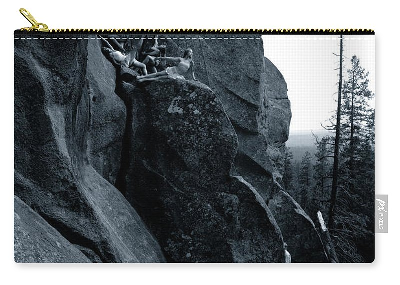 Dancers Carry-all Pouch featuring the photograph Cliff Dancers Three Black And White by Scott Sawyer
