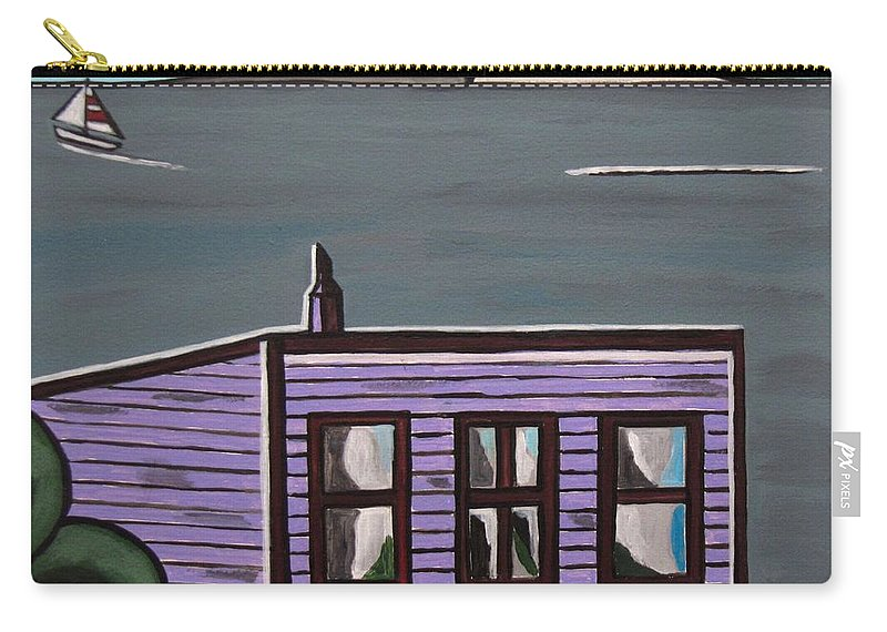 Beach Scenes Carry-all Pouch featuring the painting Cliff Top by Sandra Marie Adams