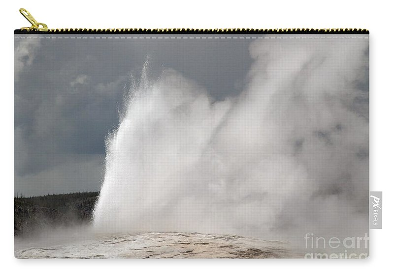 Old Faithful Carry-all Pouch featuring the photograph Close Up Of Old Faithful by Living Color Photography Lorraine Lynch