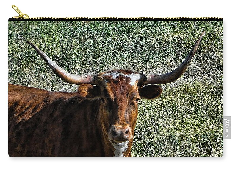 Texas Carry-all Pouch featuring the photograph Closeup Of Texas Longhorn by Alan Hutchins