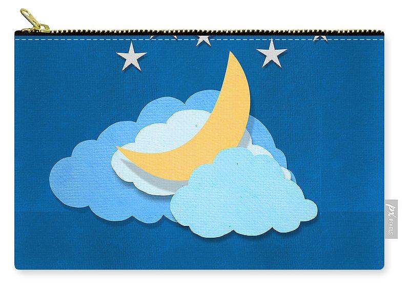 Antique Carry-all Pouch featuring the digital art Cloud Moon And Stars Design by Setsiri Silapasuwanchai