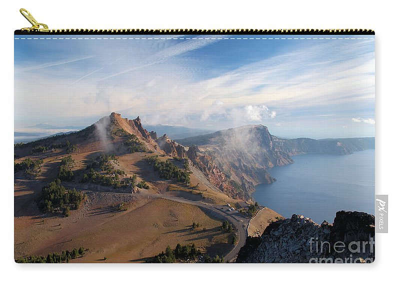 Crater Lake National Park Carry-all Pouch featuring the photograph Clouds On The Ridge by Adam Jewell