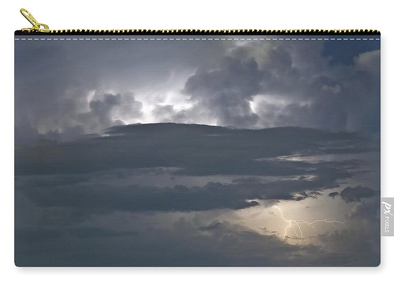 Lightning Carry-all Pouch featuring the photograph Cloudy Horizon by Stephen Whalen