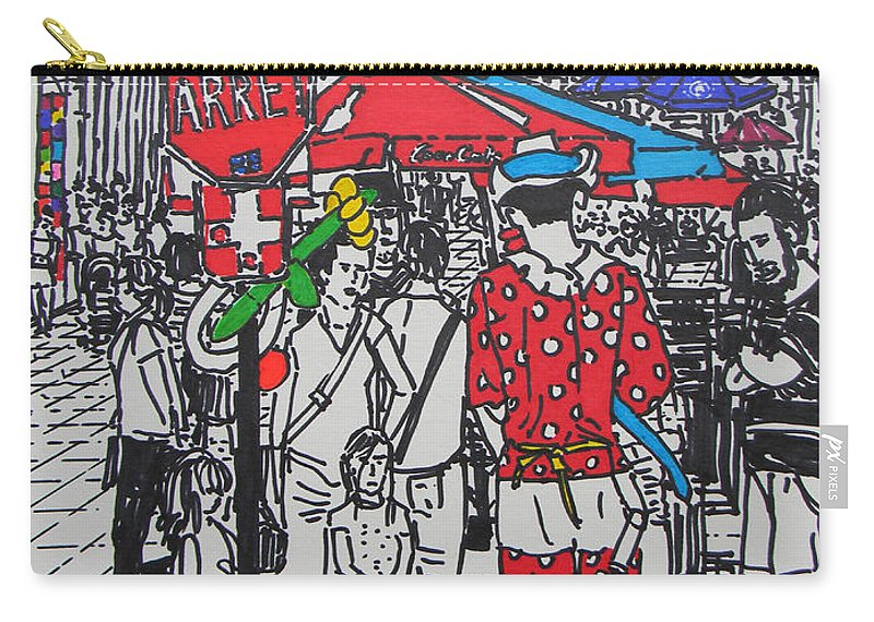 Clown Carry-all Pouch featuring the drawing Clown by Marwan George Khoury