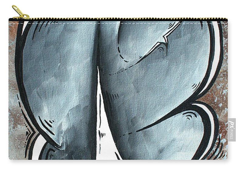 Coastal Carry-all Pouch featuring the painting Coastal Art Contemporary Sailboat Painting Whimsical Design Shining Sea By Madart by Megan Duncanson