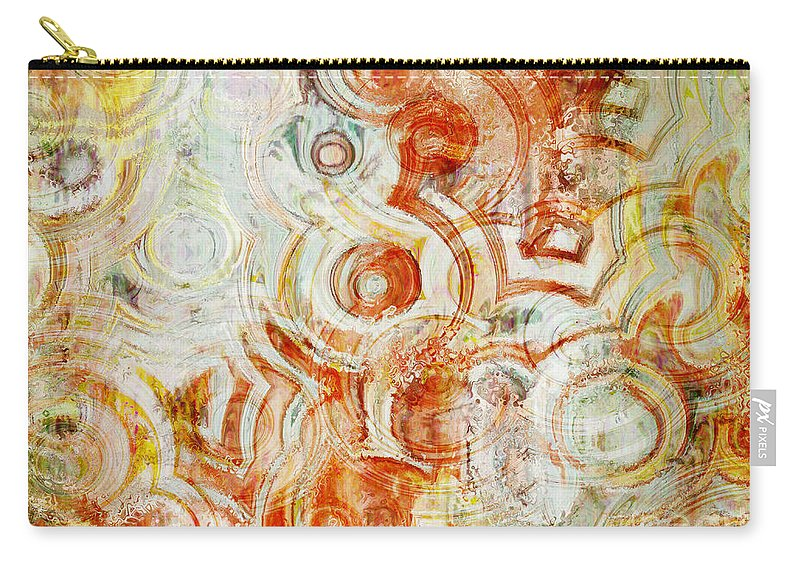 Abstract Carry-all Pouch featuring the digital art Coffee Rings Abstract by Debbie Portwood
