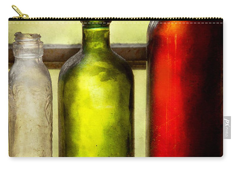 Bottles Carry-all Pouch featuring the photograph Collector - Bottles - Still Life Of Three Bottles by Mike Savad