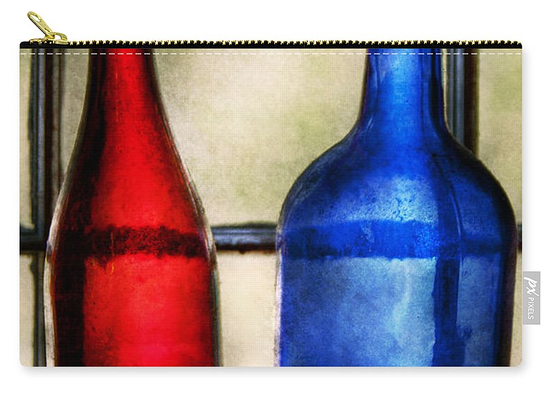 Wine Carry-all Pouch featuring the photograph Collector - Bottles - Two Empty Wine Bottles by Mike Savad