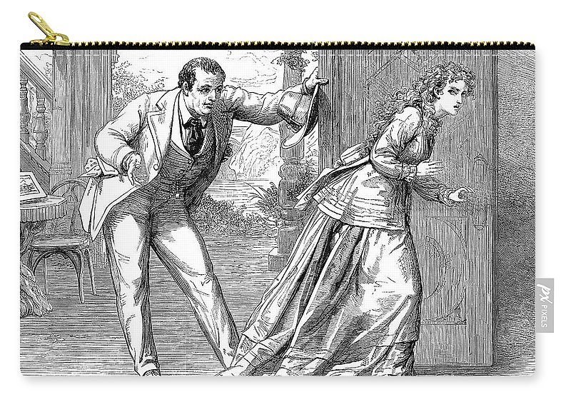 1871 Carry-all Pouch featuring the photograph Collins: Woman In White by Granger