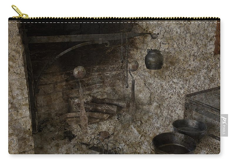 Colonial Carry-all Pouch featuring the photograph Colonial Fireplace Cooking Arrangement by John Stephens