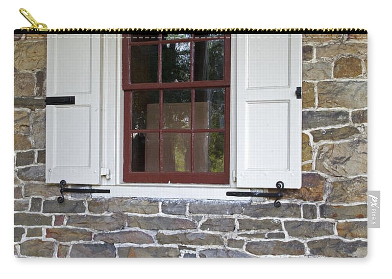 Colonial Carry-all Pouch featuring the photograph Colonial Shutters Window Frame Stone Wall Wood Box by John Stephens