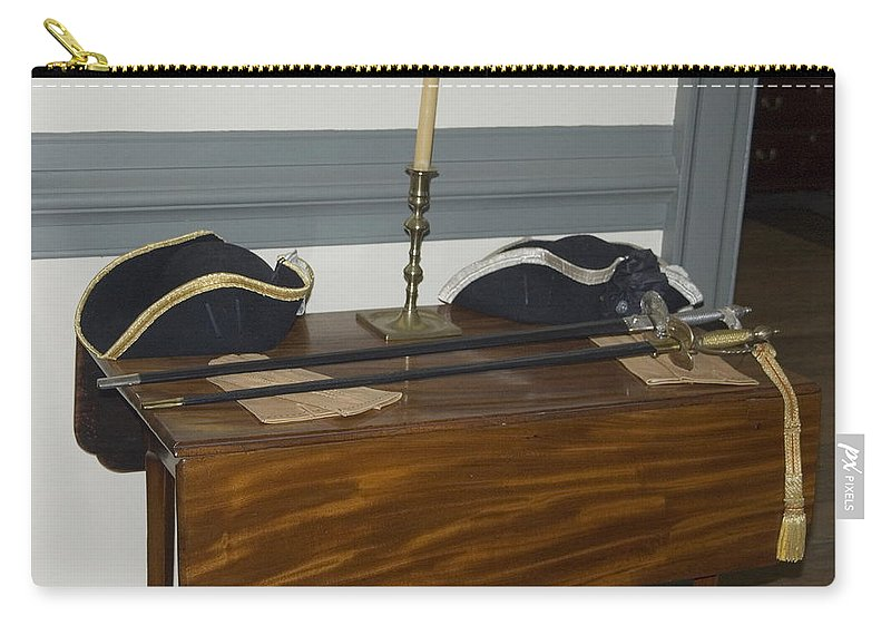Officers Swords Carry-all Pouch featuring the photograph Colonial Soldiers Artifacts by Sally Weigand