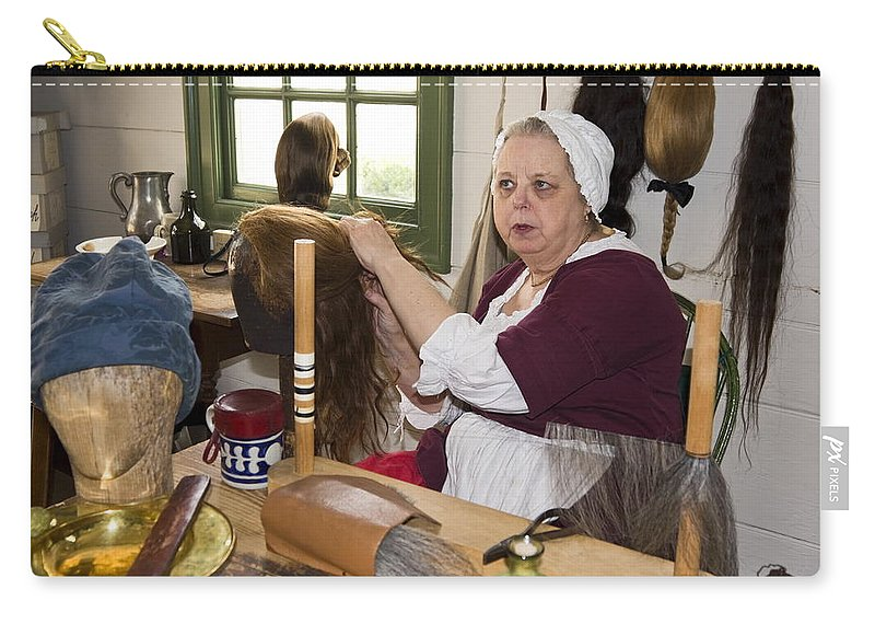 Wigmaker Working Carry-all Pouch featuring the photograph Colonial Wigmaker by Sally Weigand