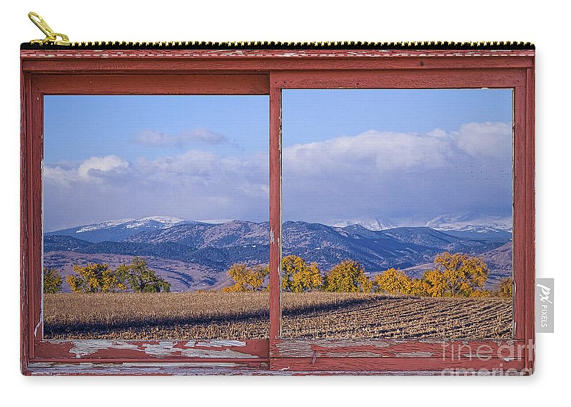 'colorado Nature' Carry-all Pouch featuring the photograph Colorado Country Red Rustic Picture Window Frame Photo Art by James BO Insogna