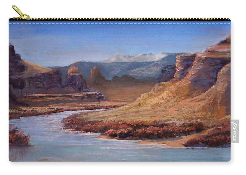 Colorado River Carry-all Pouch featuring the pastel Colorado River Cliffs by Heather Coen