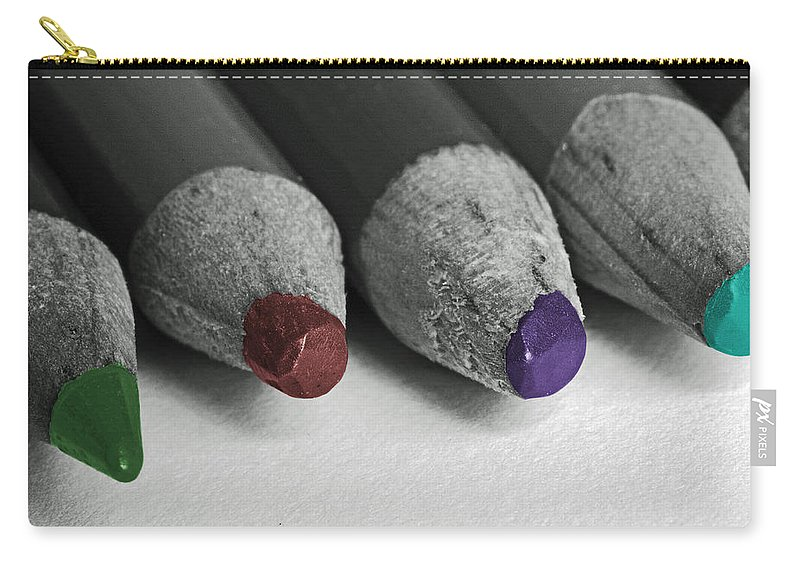 Colored Pencils Carry-all Pouch featuring the photograph Colored Pencils by Bill Owen