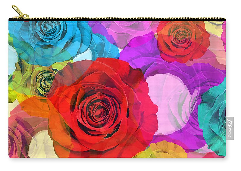 Affection Carry-all Pouch featuring the painting Colorful Floral Design by Setsiri Silapasuwanchai