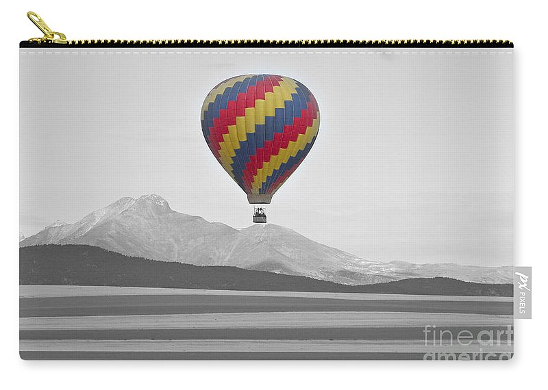 'hot Air Balloon' Carry-all Pouch featuring the photograph Colorful Hot Air Balloon And Longs Peak by James BO Insogna