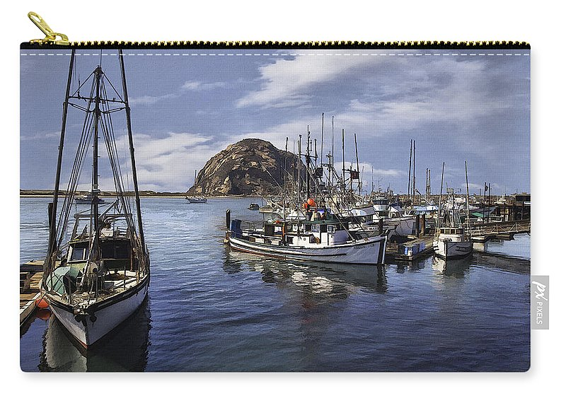 Boat Carry-all Pouch featuring the digital art Colorful Morro Harbor by Sharon Foster