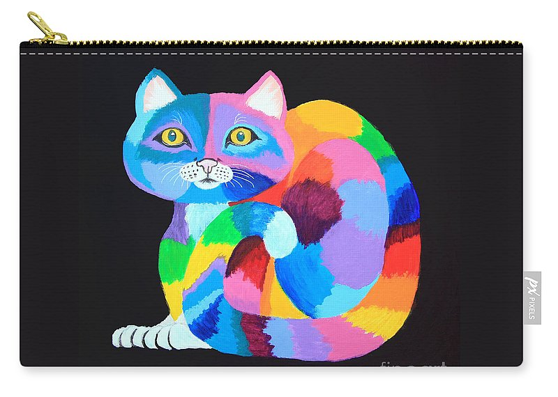 Cat Carry-all Pouch featuring the painting Colorful Rainbow Cat by Nick Gustafson