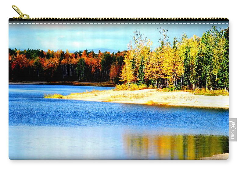 Lake Carry-all Pouch featuring the photograph Colors At Chena L by Kathy Sampson